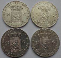 The Netherlands – 2½ guilder 1845, 1846 (lily), 1847 and 1848 Willem II (4 pieces) – silver