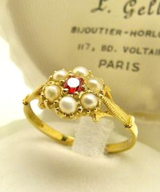 Natural Mexican fire Opal & Pearl vintage G.H. ring  - NO RESERVE