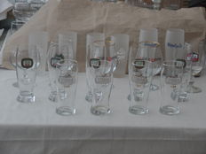 Lot of 20 rare beer glasses, including Stella, Palm, Petrus, Maes and Wittekerke.