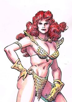 Chan, Ernie - Original illustration in colour - Red Sonja - (1973)