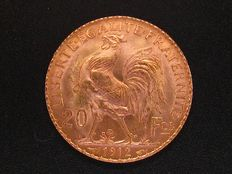 France – 20 Francs, 1912 'Rooster' – Gold.