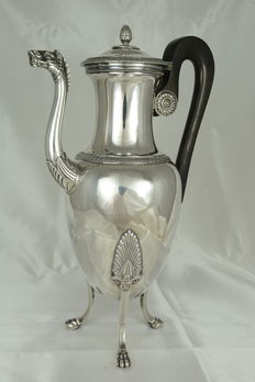 Antique sterling silver pitcher, France, Revolutionary era, late 18th century, Paris