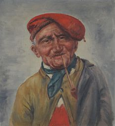 Italian School (19th-20th century) - Portrait of a man in a red hat and pipe
