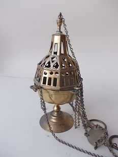 Bronze censer, 17th century, with later foot and pinnacle