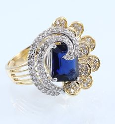 IGI Certified Yellow Gold 1.15 ct designer diamond ring with side color stones