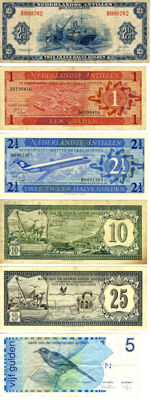 Netherland Antilles - Collection of banknotes 1 -25 guilder 1964-1986 (6 pieces)