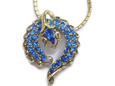 Signed CORO - Necklace and pendant Sapphire Blue Crystals - 1950/60s