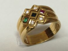 19.2 kt (800) gold ring with diamonds, emerald, sapphire and ruby.