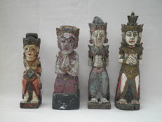 4 polychrome temple figures, woodcarving – Bali – Indonesia
