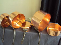 Five pans in genuine copper, first half of the 20th century