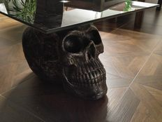 Table with dark glass (tempered glass) on huge big skull base - morbid charm with style