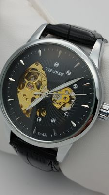 """Tevise """"Skeleton"""" – Automatic men's watch – Leather strap"""
