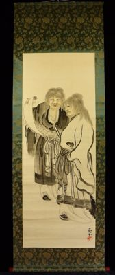 Scroll painting by Hanshan and Shide signed with 仙卿 (Senkyo) – Japan – 1920