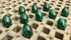 Collection of Malachite eggs - 3,1 to 3,4 cm - 430gm  (10)