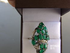 Vintage ring - Art Deco style - Silver with marcasites