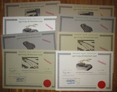 Great Britain - 2x4 different Jaguar Racing Club (Switzerland) Limited - DECO Share Certificates 1993 - Lot of 8
