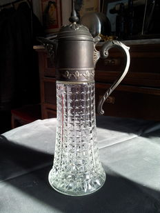 Crystal and pewter jug - ca. 1920