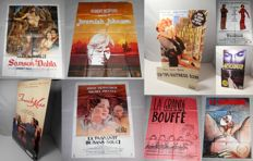 Cinema Memorabilia; Lot containing 5 vintage filmposters + 3 mini billboards.