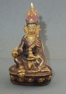 Gilt metal Padmasambhava from Patan in Nepal or Bhutan – mid / second half 20th century