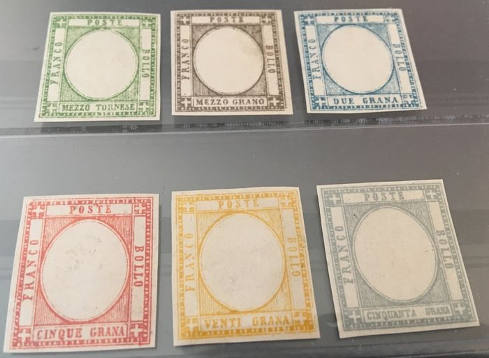 Kingdom of Italy, 1861 - Neapolitan Provinces - 6 test stamps in the implemented colours without effigies - CEI no. P22, 23, 25, 26, 28 and 29