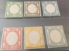 Kingdom of Italy – Neapolitan Provinces – 1861 – Six test stamps without effigy and in the implemented colours