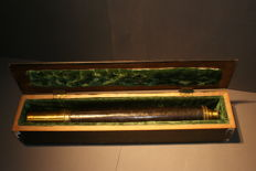 Naval spyglass in wooden box - mid-19th century