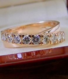 Rose gold - 14 kt - croisé ring with 9 brilliants - 0.50 ct - size approx. 17 mm