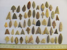 55 Neolithic arrowheads - 18/32 mm (55)