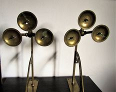 Pair of Art Deco wall sconces, each holds three candles - bronze and brass