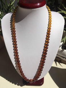 Myanmar Amber gradient necklace weight 25.7 grams.
