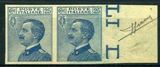 Kingdom of Italy, 1908. Victor Emmanuel III. 25 cents light blue, two stamps. Print test on paper without filigree and gum.