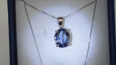 White gold necklace and pendant with 3.00 ct Tanzanite - NO RESERVE