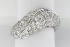 White gold (18 kt/750) cocktail ring with 82 diamonds of 1.64 ct - Size:  14/54