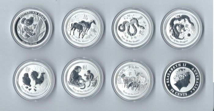Australia – 50 Cents 2012/2017 (eight coins) – 8 x ½ oz Silver