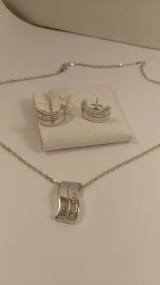 Necklace and earrings in 925 silver – With Balmain logo