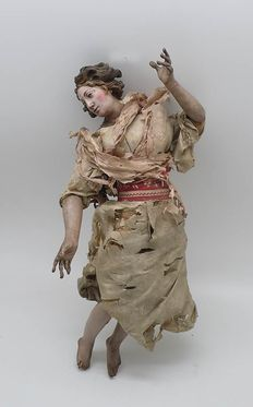 Figure from the Neapolitan Nativity scene carved in wood and polychrome - Italian school - late 18th / early 19th century