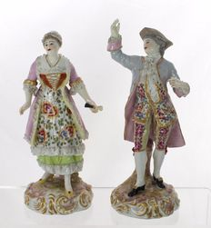 Bourdois & Bloch of Paris - Pair of Porcelain Figurines in Soft Pastel Attire