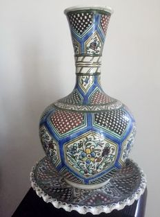 Antique polychrome vase with dish - Izmir, Turkey - Early 20th century
