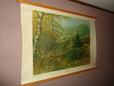 """Two beautiful old school posters on linen by Koekoek """"In the dune and additional poster In the dune"""" with Hedgehog, butterfly, pheasant, stoat, etc."""