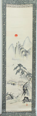 A decorative scroll painting landscape scenery and crane - Japan - late 20th century