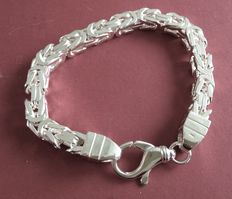 Silver king's braid link bracelet