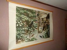 "Two beautiful old school posters on linen by Koekoek ""Birds in Winter and additional poster Birds in Winter"" with Robin, Wren, Suet, woodpecker, and many other birds."