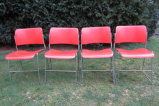 "David Rowland – Steel stacking chair ""40/4 Chair"" 4 x"