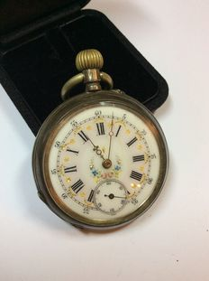 Antique pocket watch - hand painted 800 silver