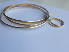 Tricolour gold set, 3 bracelets with 3 matching rings