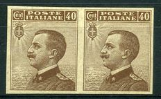 Kingdom of Italy, 1908. Victor Emmanuel III. 40 cents brown, two stamps. Print test on paper without filigree and gum.