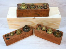 Three various wooden blocks with copper weights - 1900 - 1930