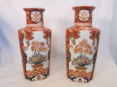 Two large vases decorated with flower baskets – China – circa 1970/1980