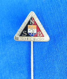 "NSB- Very beautiful five-year lapel badge ""Hou en Trou"" NSB Pin. WW2."
