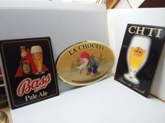 Old tins and cardboard advertising signs from Belgium - the years 1985/1995/1998.